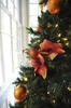 closeup of flowers and ornaments in Christmas tree