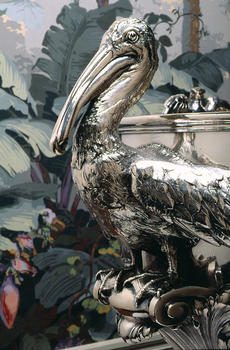 Detail [pelican handle] of USS Florida Punch Bowl